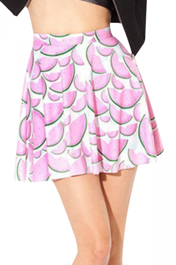 Pink Cute Womens Watermelon Printed Chic Pleated Skirt