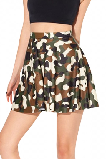 Green Fashion Ladies Camo Printed Cool Pleated Skirt