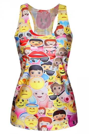 Yellow Cute Womens Strap Emoji Cartoon Printed Tank Top