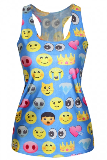 Blue Stylish Womens Cartoon Emoji Crew Neck Tank Top