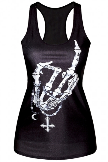 Black Cool Womens Crew Neck Skeleton Hand Printed Tank Top