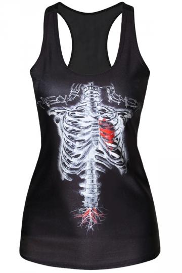 Ladies Crew Neck Strap Skeleton Heart Blood Printed Tank Top