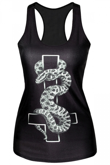 Black Cool Womens Crew Neck Cross Snake Printed Tank Top