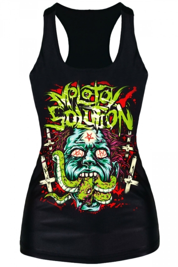 Black Scary Ladies Crew Neck Zombie Snake Printed Tank Top