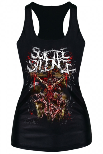 Black Trendy Womens Cross and Evil Printed Tank Top
