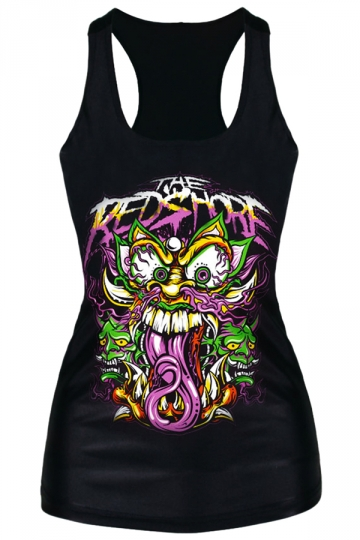 Black Trendy Womens bad Dragons Printed Tank Top