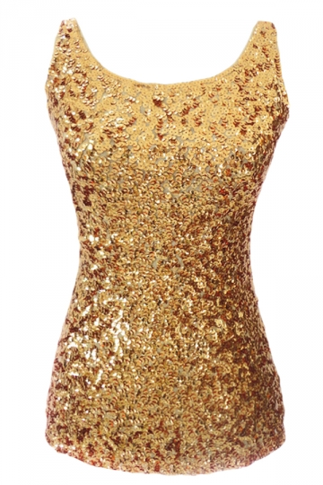 Womens Slimming Crew Neck Sleeveless Sequined Tank Top Gold