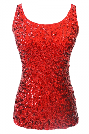 Womens Slimming Crew Neck Sleeveless Sequined Tank Top Red