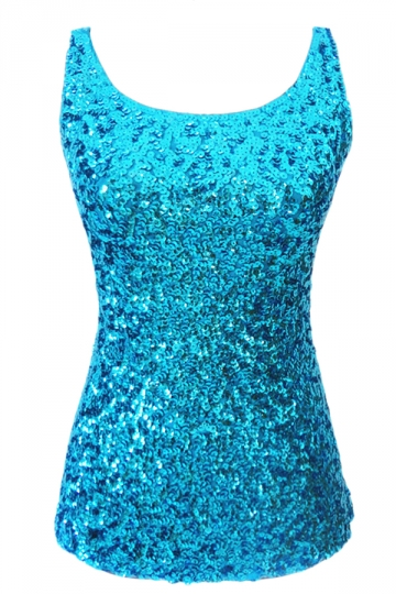 Womens Slimming Crew Neck Sleeveless Sequined Tank Top Turquoise