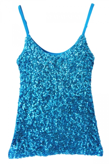 Turquoise Slimming Ladies Sleeveless Strap Sequined Camisole Top