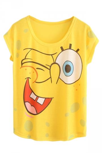 Yellow Ladies Cotton Crew Neck Cartoon Sponge Bob Printed T-shirt