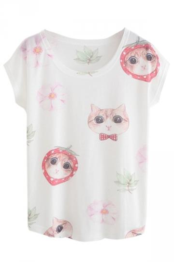 White Womens Crew Neck Cotton Strawberry Cat Printed T-shirt