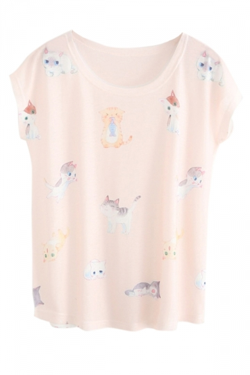White Ladies Crew Neck Chi's Sweet Home Cat Print Cotton T-shirt