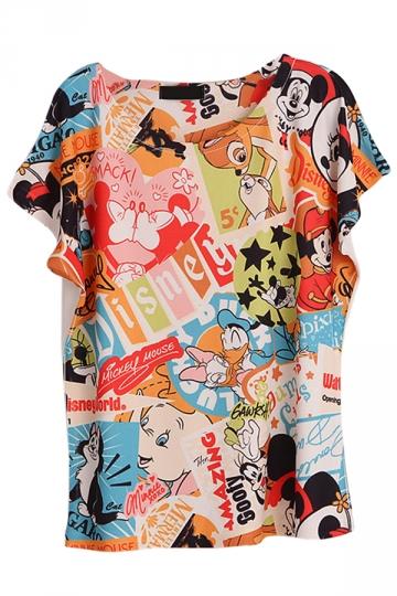 Blue Womens Crew Neck Disney Cartoon Printed Cotton T-shirt