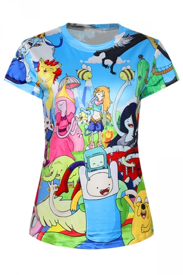 Blue Ladies Crew Neck Cartoon Adventure Time Printed T-shirt