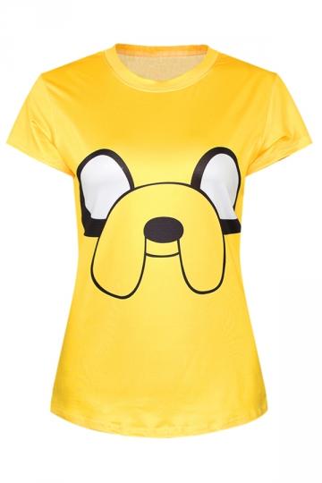 Yellow Ladies Crew Neck Cartoon Adventure Time Jake Print T-shirt