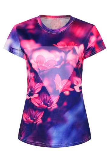 Purple Womens Crew Neck Plum Blossom Flower Printed T-shirt