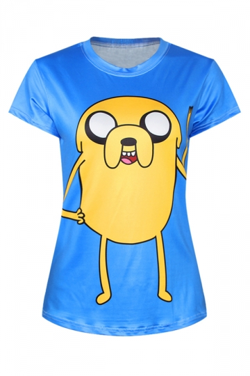 Blue Ladies Crew Neck Adventure Time Jake Printed T-shirt