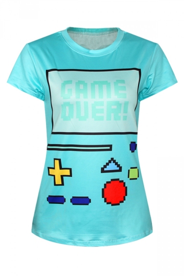 Turquoise Ladies Old-fashion Gameboy Crew Neck T-shirt