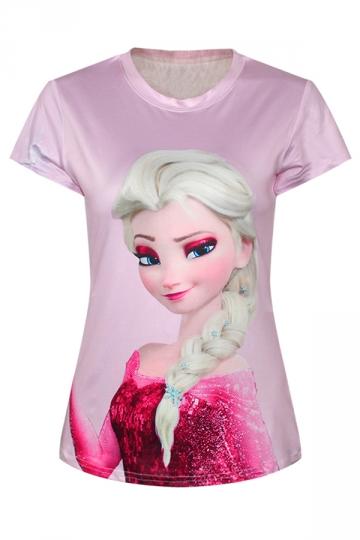 Pink Womens Crew Neck Frozen Elsa Printed Cartoon T-shirt
