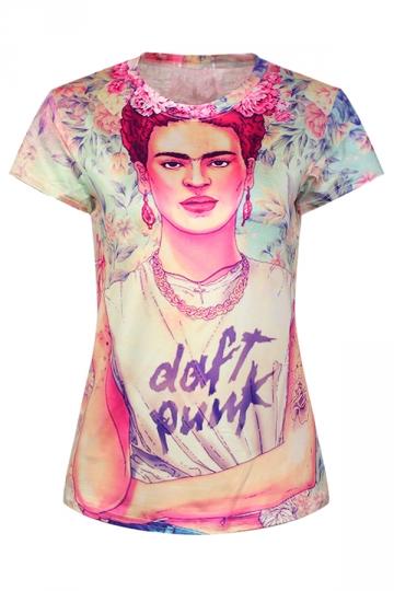 Beige Ladies Crew Neck Cartoon Handsome Boy Printed T-shirt