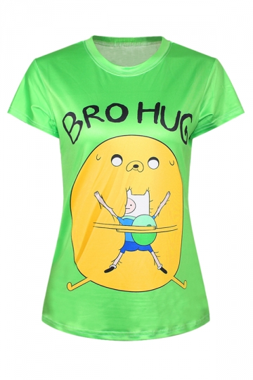 Green Ladies Crew Neck Adventure Time Jake Finn Printed T-shirt