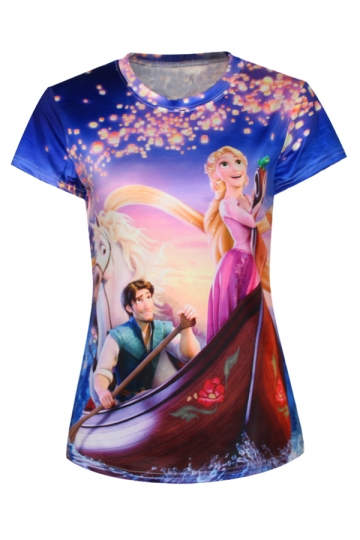 Purple Womens Crew Neck Cartoon Frozen Anna Boat Printed T-shirt