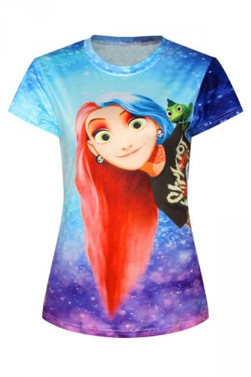 Blue Ladies Crew Neck Cartoon Frozen Anna Printed T-shirt