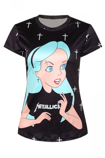 Black Punk Womens Crew Neck Alice Cartoon Printed T-shirt