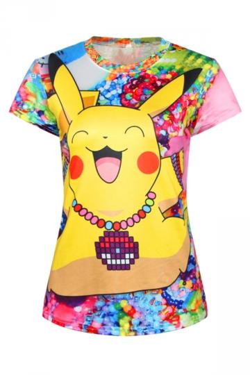 Yellow Cute Ladies Crew Neck Pikachu Cartoon Printed T-shirt