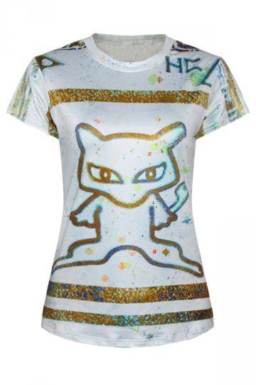 Gray Ladies Crew Neck Pokemon Cartoon Cat Printed T-shirt