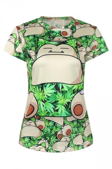 Green Cute Ladies Crew Neck Tree Pokemon Cartoon Printed T-shirt