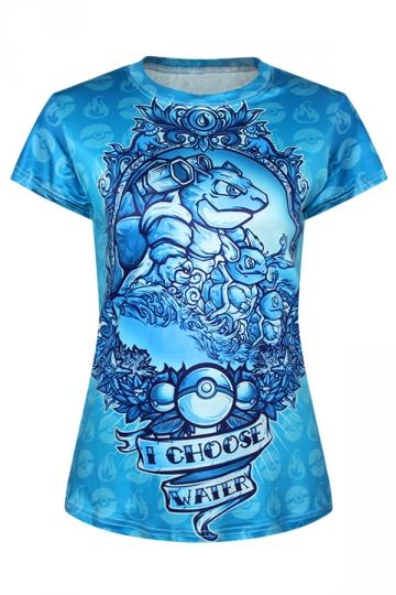 Ladies Crew Neck Pokemon I Choose Water Cartoon Printed T-shirt