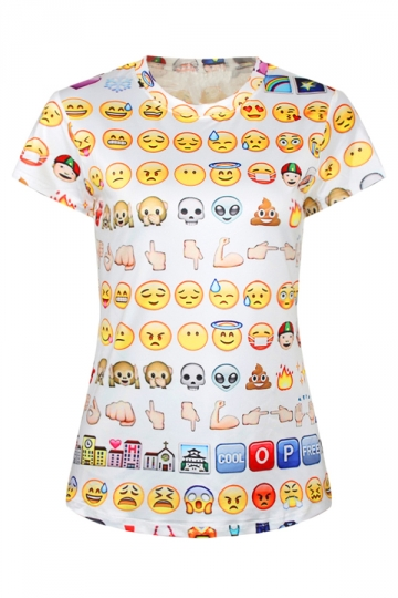 White Sexy Ladies Crew Neck Emoji Cartoon Printed T-shirt