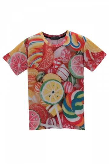 Red Womens Crew Neck Short Sleeve Candy Printed T-shirt