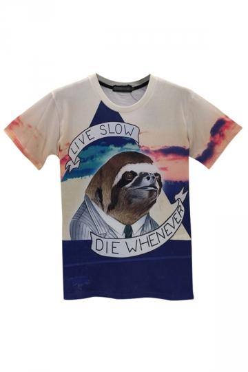 White Womens Short Sleeve Crew Neck Sloth Printed T-shirt