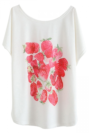 White Loose Cute Strawberry Printed Ladies Casual T-shirt