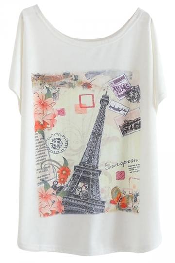 White Vintage Ladies Eiffel Tower Printed Casual Tee Shirt