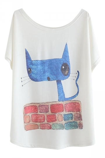 White Cartoon Cat Printed Womens Cute Casual Loose Tee Shirt