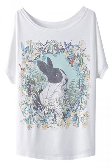 White Vintage Womens Rabbit Printed Loose T Shirt