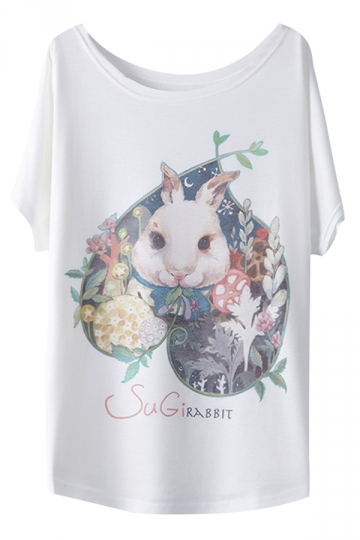 White Bunny Loose Ladies Casual Cool T-shirt