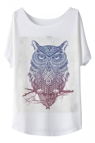 White Womens Cool Owl Printed Causal Loose Chic T-shirt