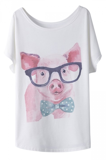 White Glass Pig Printed Ladies Casual Loose Fashion T-shirt