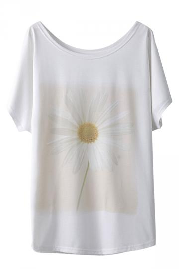 White Flower Printed Ladies Loose Short Sleeves Cool T Shirt
