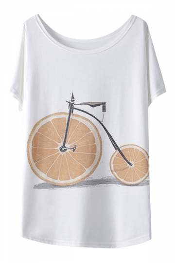 White Orange Bike Printed Loose Ladies Casual T Shirt