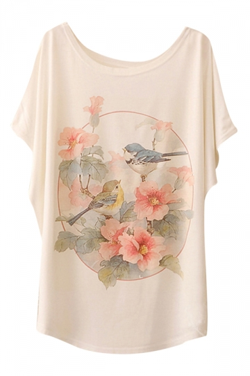 White Fancy Womens Birds Printed Loose Casual T-shirt
