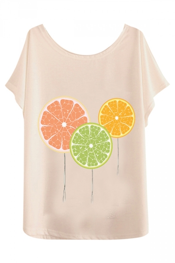 White Loose Womens Lemon Printed Fashion Tee Shirt