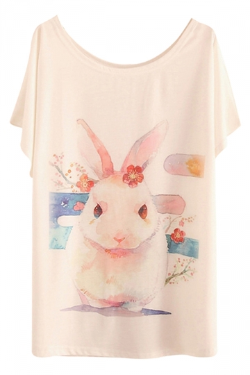 White Doodle Womens Bunny Printed Cute Casual T-Shirt