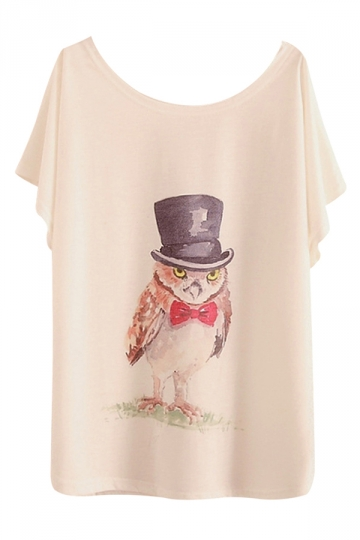 White Womens Loose Mr Owl Printed Casual Cool T-shirt