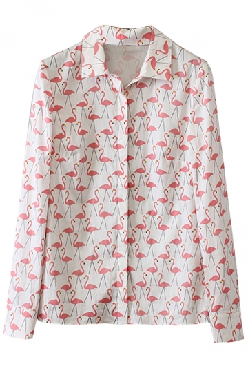 White Flamingo Pattern Long Sleeve Casual Ladies Blouse